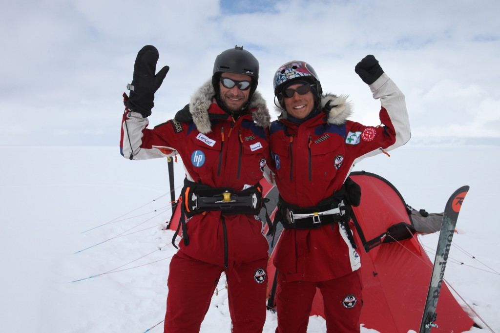 Sebastian and Eric after confirmation that they now hold the world record for longest distance kite skied over 24 hours on Greenland.
